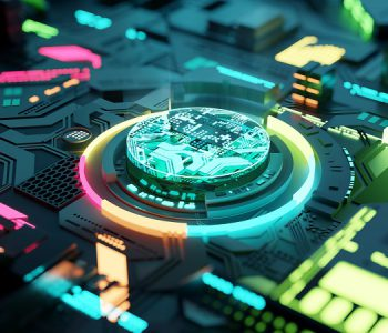 Multicoloured futuristic CPU and processor, quantum and machine learning concept. 3D illustration concept.