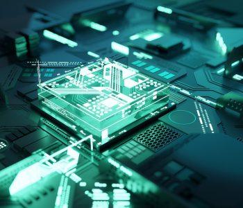 Futuristic green quantum computing CPU processor concept. 3D illustration